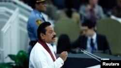 Presiden Sri Lanka Mahinda Rajapaksa saat berpidato di hadapan Sidang Umum PBB di New York, 24 September 2013 (Foto; dok).