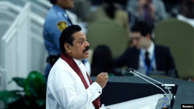 Sri Lanka's President Mahinda Rajapaksa addresses the 68th United Nations General Assembly at U.N. headquarters in New York, Sept. 24, 2013.