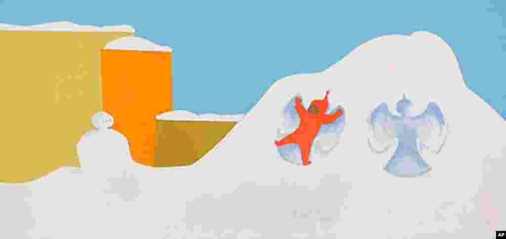 """In """"The Snowy Day"""" by Ezra Jack Keats, Peter - one of the first minority characters in children's literature - plays in the snow. (All photos courtesy of the Ezra Jack Keats Foundation.)"""