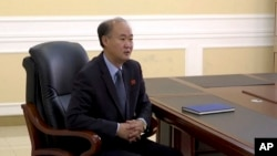 In this image made from video, Pang Kwang Hyok, vice director of the department of international organizations at the North Korean Ministry of Foreign Affairs, speaks during an interview with The Associated Press Television in Pyongyang, North Korea, Oct.