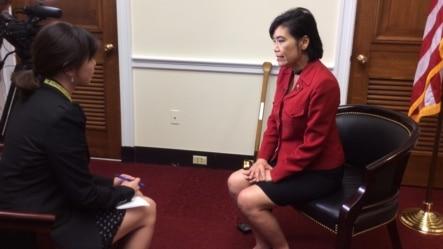 美国国会亚太裔议员团主席赵美心在亚太传统月接受美国之音专访 (美国之音照片)