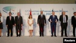 Ông Tillerson và các bộ trưởng ngoại giao G-7 ở Lucca, Ý, 11/4/2017.