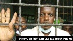 Serge Welo, mokambi bilenge ya ECIDE, na baninga baye na cachot ya police ma Kinshasa, 23 uin 2021. (Twitter/Coalition Lamuka)