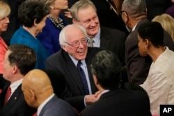 FILE - Democratic presidential candidate Sen. Bernie Sanders, I-Vt. arrives on Capitol Hill in Washington, Jan. 12, 2016.