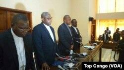 Les évêques de la Cenco (Conférence épiscopale nationale du Congo) lors d'un point de presse à Kinshasa, 11 janvier 2017. (Top Congo/VOA)