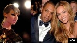 Taylor Swift (à gauche) est la grande absente de la liste des nominations aux Grammy Awards, alors Jay-Z a été sélectionné huit fois, ce qui pourrait lui permettre de passer devant son épouse Beyoncé (à gauche) au nombre des victoires.