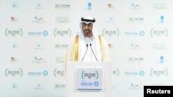 Le prince Mohammed ben Zayed al-Nahyane parle lors d'un sommet sur l'énergie à Abu Dhabi, le 15 janvier 2013.