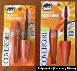 Mascara in plastic packaging (left), next to Pulpworks' compostable packaging