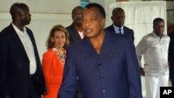 Le président Denis Sassou N'Guesso à Brazzaville, Congo, le 20 mars 2016.