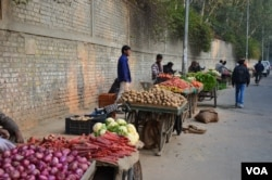 Fruit and vegetable vendors wait for customers in New Delhi, India. (Photo: A. Pasricha / VOA)