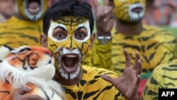 Bangladesh cricket fans, dressed as tigers, the symbol of Bangladesh cricket, cheer for their team during the first day of the second Test match between Bangladesh and England at the Sher-e-Bangla National Cricket Stadium in Dhaka.