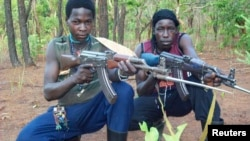 Fighters loyal to the Lord's Resistance Army in the Central African Republic in this handout picture. (File)