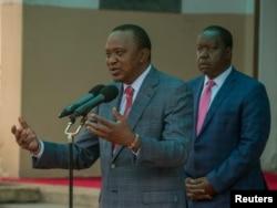 지난 14일 수도 나이로비에서 지지자들에게 연설하고 있는 우후루 케냐타 케냐 대통령.