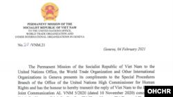 Công hàm ngày 4-2-2021 của Phái đoàn Việt Nam tại Geneva. Photo spcommreports.ohchr.org
