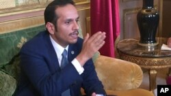 Mohammad ben Abdel Rahman Al Thani en conference de presse à Paris, France, le 12 juin 2017.