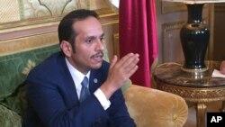Ministan harkokin wajen kasar Qatar Mohammad ben Abdel Rahman Al Thani yayin da yake magana da manema labarai a Paris ranar 12 juin 2017