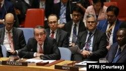 Wakil Tetap Republik Indonesia untuk PBB, Duta Besar Dian Triansyah Djani, dalam pertemuan khusus Dewan Keamanan PBB, Selasa, 11 Februari 2020, menegaskan kembali dukungan Indonesia pada Palestina. (Foto: PTRI)