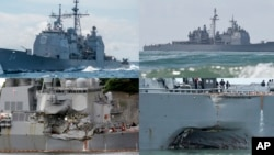 This combination of file photos show U.S. Navy ships the USS Antietam, top left; the USS Lake Champlain, top right; the USS Fitzgerald, bottom left; and the USS John S. McCain. Navy ships have been in at least four accidents in the Pacific this year.