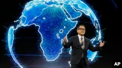Toyota CEO Akio Toyoda talks about building the prototype Toyota city of the future, called the Woven City before the CES tech show Monday, Jan. 6, 2020, in Las Vegas. (AP Photo/Ross D. Franklin)