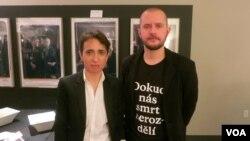 Маша Гессен и Павел Лопарев после обсуждения фильмов