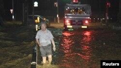 Một con phố bị ngập ở Asakura, tỉnh Fukuoka, Nhật Bản, 5/7/2017