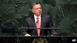 King Abdullah II, of Jordan, addresses the 69th session of the United Nations General Assembly, at U.N. headquarters, Sept. 24, 2014.