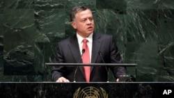 Raja Yordania Abdullah II saat memberikan pidato di Sidang Umum PBB, Rabu (24/9).
