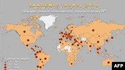 Bản đồ ghi nhận dịch cúm heo của Tổ chức Y tế Thế giới