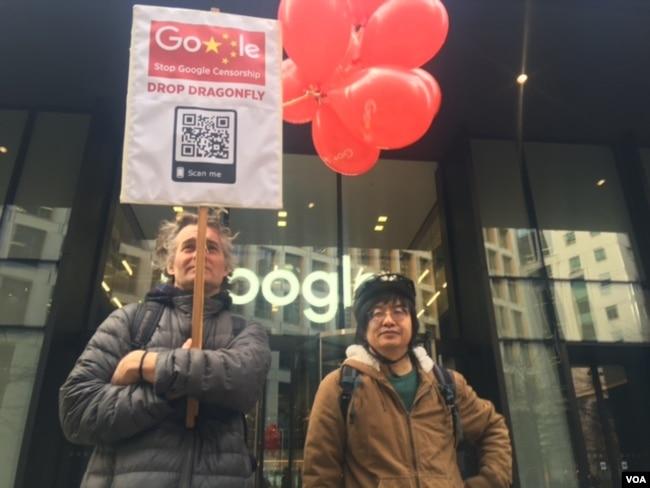 """海外民运人士邵江(右)表示,阻止""""蜻蜓计划""""非常重要(美国之音江静玲拍摄)"""