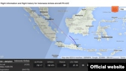 Gambar Peta Penerbangan AirAsia Flight 8501 (Foto: FlightRadar24.com)