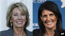 ຈາກຊ້າຍທ່ານນາງ Betsy DeVos, ປະທານາທິບໍດີ ສຫລ ຜູ້ຖືກເລືອກໃໝ່ ທ່ານ Donald Trump ເລືອກໃຫ້ເປັນ ລັດຖະມົນຕີ ກະຊວງສຶກສາ ແລະທ່ານນາງ Nikki Haley, ທ່ານທຣຳເລືອກໃຫ້ເປັນ ເອກອັກຄະລັດຖະທູດສະຫະລັດ ປະຈຳ ສປຊ.