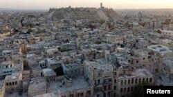 无人机拍摄的阿勒颇城