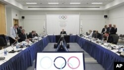 Members of the International Olympic Committee executive board, Quebec City, May 23, 2012.