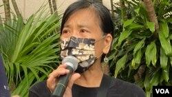 社民連主席陳寶瑩批警方10月1日出動8千警力戒備,是不合理、不成比例,以及對公民行使遊行示威等權利的限制和威嚇。(美國之音 湯惠芸 拍攝)