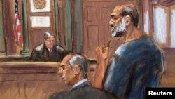 8일 뉴욕 법원에 출두한 아부 가이스(오른쪽)를 그린 스케치.