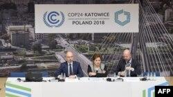 Konferensi pers KTT Perubahan Iklim di Katowice, Polandia, Minggu (2/12).
