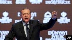 Tổng thống Thổ Nghĩ Kỳ Recep Tayyip Erdogan tại cuộc họp báo ở Istanbul, 12/3/2107.