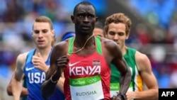 Bingwa wa Olimpiki na mawnariadha wa Kenya David Rudisha anaonekana hapa katika mashindano ya awali.