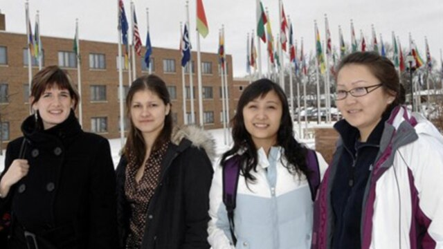 Foreign students at Dickinson State University in Dickinson, North Dakota