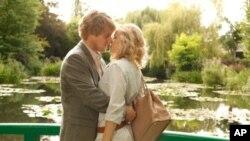 0wen Wilson channels Woody Allen and Rachel McAdams is his materialistic girlfriend in 'Midnight in Paris.'