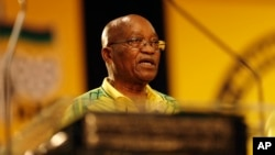 FILE - South African President and then president of the African National Congress, Jacob Zuma, addresses delegates at the start of an ANC conference in Johannesburg, South Africa, Dec. 16 2017.