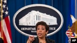 Jaksa Agung Loretta Lynch dalam konferensi pers di DEpartemen Kehakiman AS di Washington (3/12).