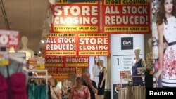 Shoppers walk in a BHS store in London, July 25, 2016. The so-called Brexit means the city could lose its right to sell services tariff-free across the European Union, risking its position as Europe's financial headquarters.