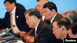 6일 중국 베이징에서 개막한 제8차 미-중 전략경제대화에서 왕양 중국 부총리가 발언하고 있다.
