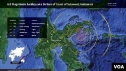 Tư liệu: Sulawesi, bản đồ động đất ở Indonesia ngày 12/4/2019