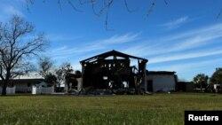 Le Victoria Islamic Center, un jour après l'incendie islamophobe, Victoria, Texas, le 29 janvier 2017.