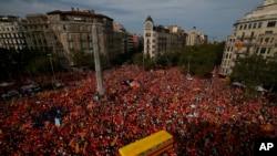 支持独立的抗议者在加泰罗尼亚民族日这天聚集在巴塞罗那的对角线大道。(2018年9月11日)
