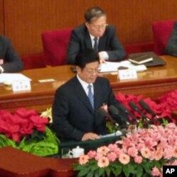 中国人大副委员长王兆国在人大会议上对刑法修正案做出说明