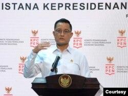 Menteri Sosial Juliari Batubara dalam telekonferensi pers di Istana Kepresidenan Jakarta , Rabu (4/11) jaringan pengaman sosial sudah terserap hampir 100 persen ( biro Setpres )