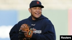 Venezuela's Miguel Cabrera, star third baseman for the Detroit Tigers, is one of 25 foreign-born players taking part in baseball's 2012 World Series.